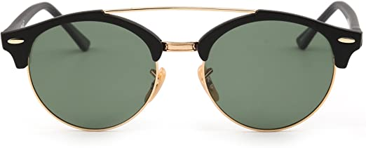 JIM HALO Gafas de Sol Polarizadas Espejo Clubround Redondas Semi Sin Marco Anteojos Hombre Mujer