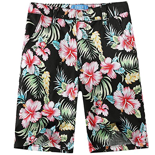 SSLR Big Boy's Hibiscus Cotton Fitted Casual Hawaiian Shorts (Large(14-16), Black)