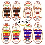 Coolnice® 3/4 Pairs No Tie Shoelaces for Kids Funny DIY- Elastic Stretch Environmentally Safe silicone - Lazy Shoestrings
