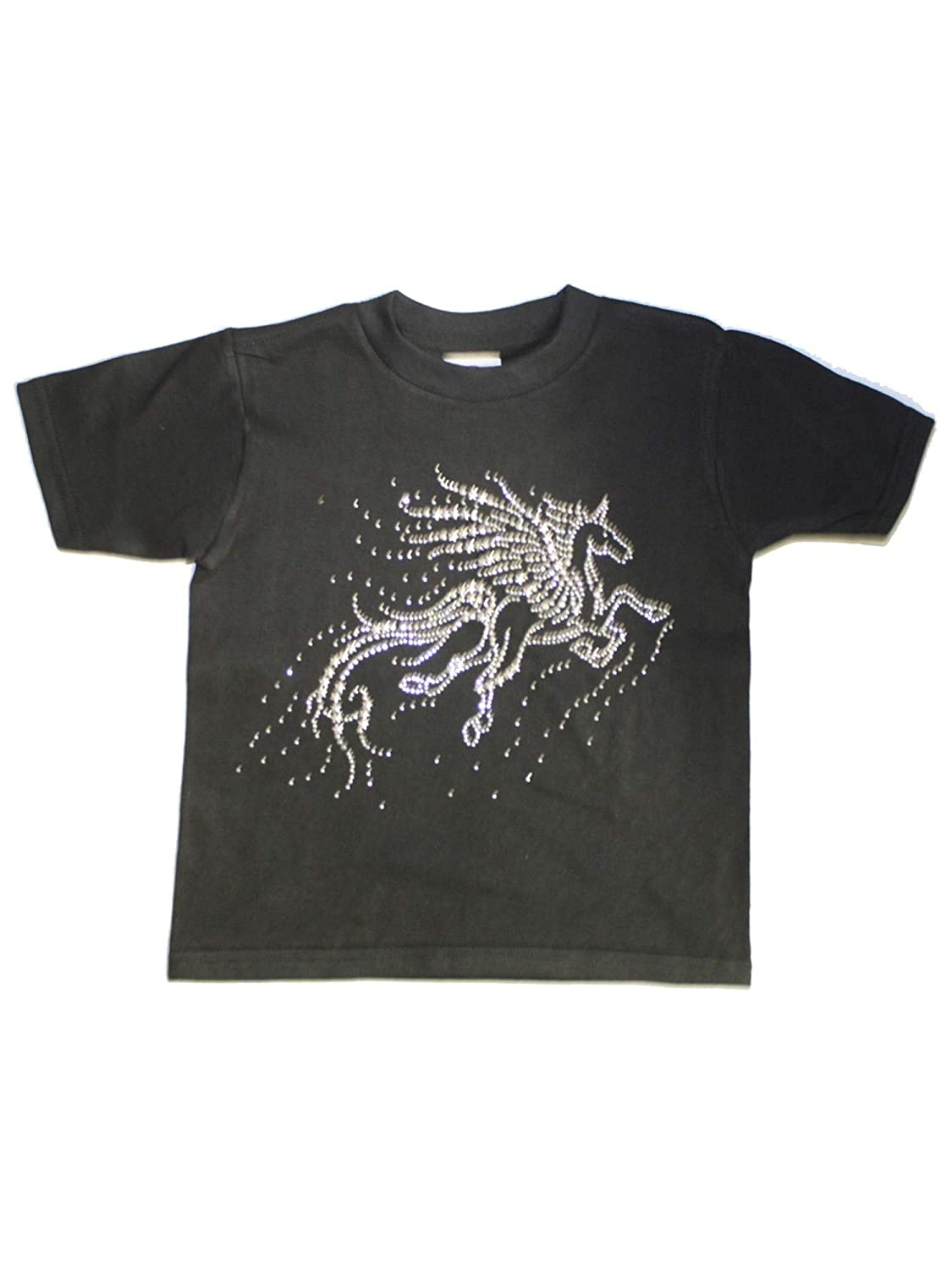 Unisex Little Kids Black Flying Unicorn Short Sleeve Cotton T-Shirt 2T-5