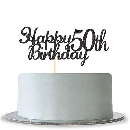 Decoración para tarta de 50 cumpleaños, con purpurina negra ...