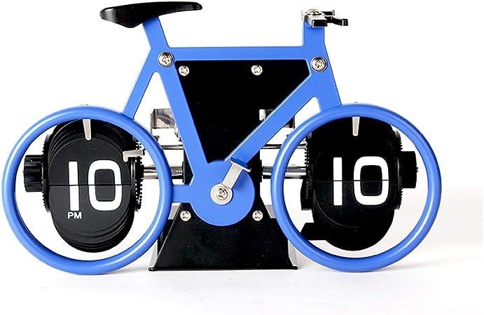 A-ZHP Reloj de Escritorio Bicicleta Reloj Creativo Reloj mecánico de Metal Reloj clásico Europeo Flip clásico Pantalla Digital mecánica Reloj de Escritorio de Moda Simple (Color : E): Amazon.es: Hogar