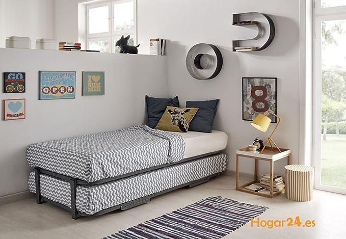 HOGAR24.es-Cama Nido con 2 somieres Estructura Reforzada Doble Barra Superior + Patas + 2 colchones Aloe Vera + 2 Almohadas de Fibra de Regalo-90x190cm: ...
