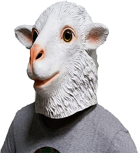 QTMY Latex Rubber Animal Mask for Halloween Party Costume Sheep