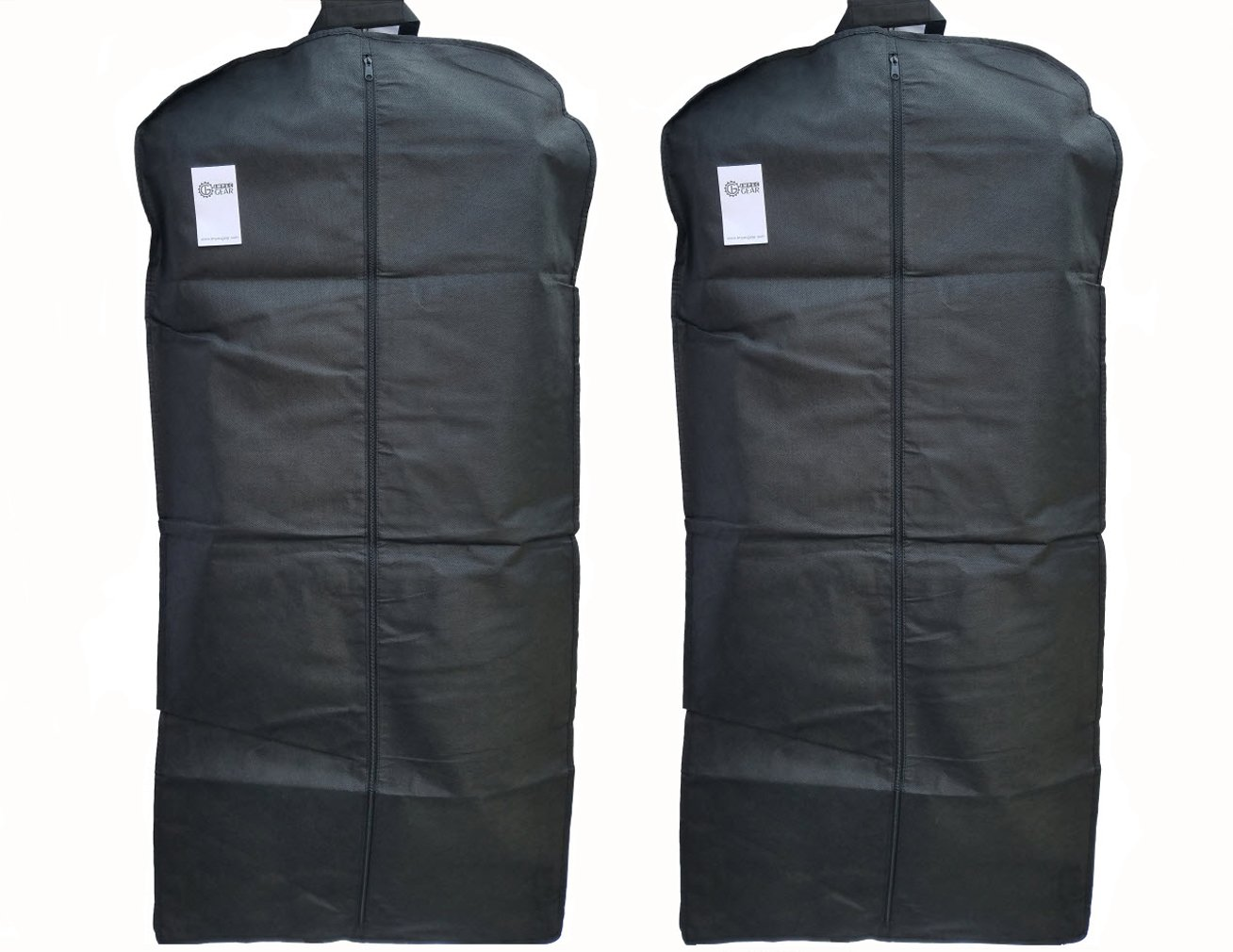 IMPECGEAR NEW 48'' Breathable Gusseted Garment Bag Cover (SET OF 2) - For Suits, Dress, Clothes, Tux, Jersey Storage Travel, Black
