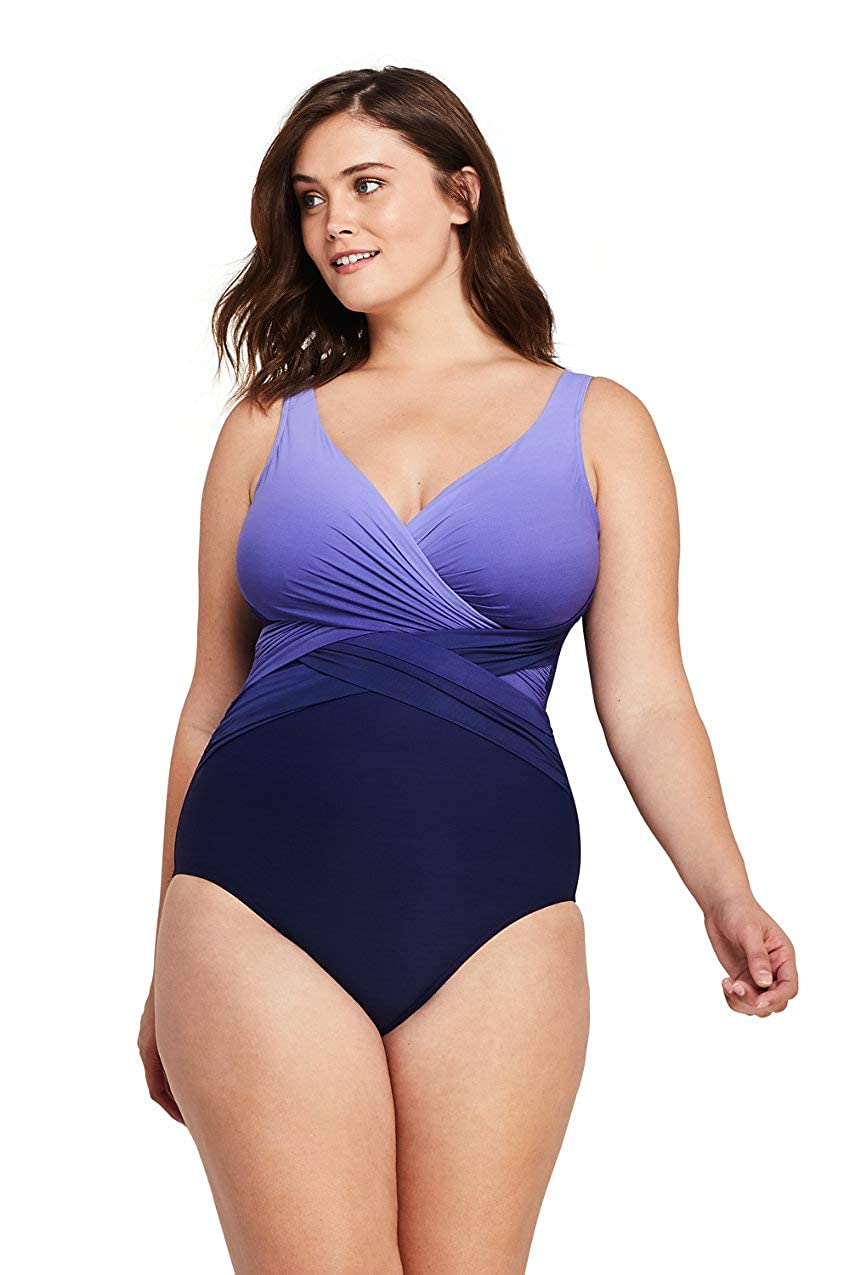 Lands' End Women's Plus Size Slender Wrap One Piece Swimsuit with Tummy Control Print