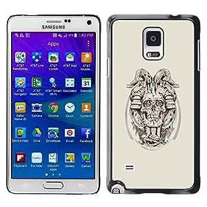 YiPhone /// Prima de resorte delgada de la cubierta del caso de Shell Armor - Cráneo de cuernos del demonio - Samsung Galaxy Note 4