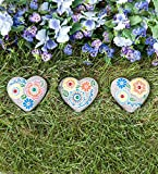 Plow & Hearth 55097-HEA Painted Mosaic Garden, Set of 3 Stepping Stones, Hearts