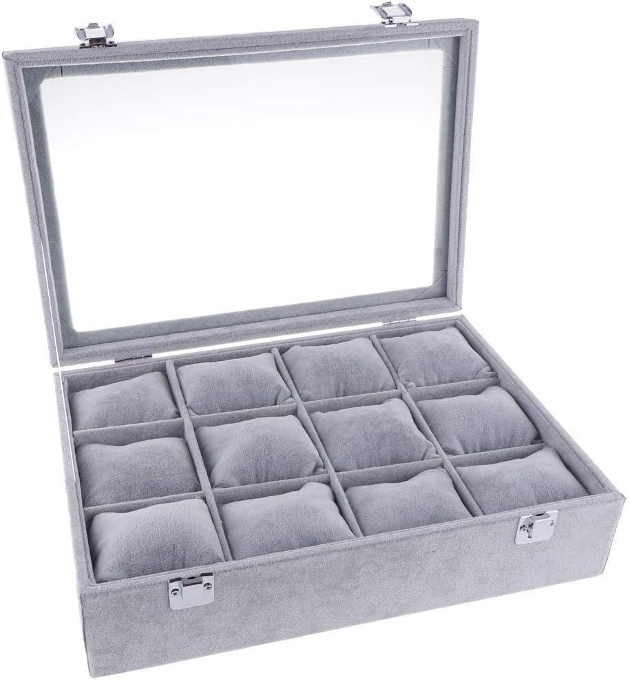 KODORIA Caja de joyería, 12 Ranuras, Organizador de Relojes, Joyas, Expositor, Reloj, Pulsera, Bandeja con Labio: Amazon.es: Hogar
