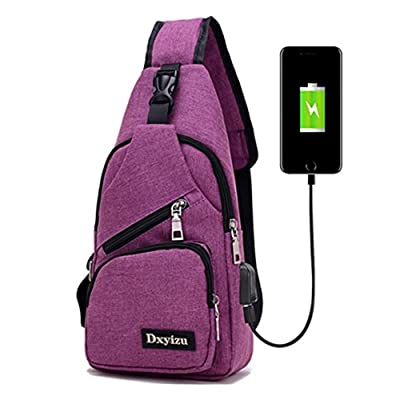 DWR Chest Bag, Canvas Sling Bag With USB Charging Port Crossbody Hiking Travel Backpack Daypack for Men Women (purple)
