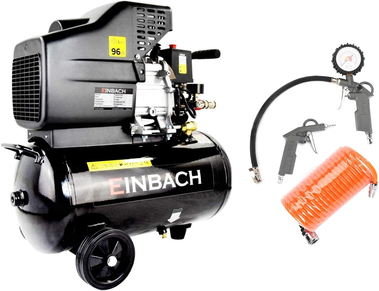 Compresor de aire de EINBACH + 3 piezas de compresor de aire de 24 L Caldera 230 V Pistola de soplado inflador de neumáticos manguera