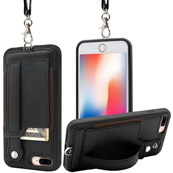 purchase cheap e0962 330cd TOOVREN iPhone 7 Plus Wallet Case, iPhone 8 Plus Wallet Case, Necklace  Lanyard Case with Kickstand Card Holder and Ajust Detachable Anti-Lost  Lanyard ...