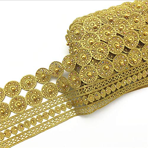 Best Quality - Lace - 10yards Vintage Gold Metallic Embroidered Motif Lace Nigeria Venice Trim Crochet Cord Wide 11CM - by Olwen Shop