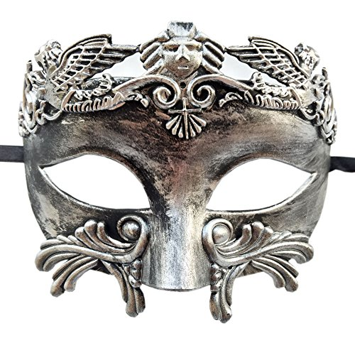 Mens Masquerade Mask Vintage Greek Roman Mask Venetian Party Mask Halloween Mardi Gras Mask (B Antique Silver Black)