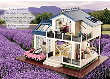 Ploy Miniature Wooden Furniture Dollhouse Handmade Furniture Accessories Dollhouse Diy Kit Provence Lavender Series