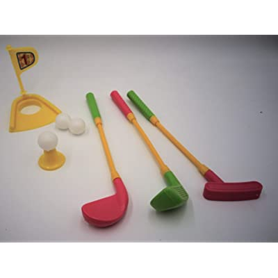 Mini Plastic Golf Clubs, Ball and Hole Cup Toy: Toys & Games