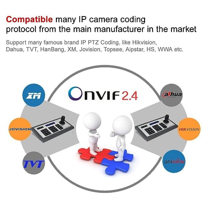 Teclado de red LEFTEK, teclado IP Controlador PTZ 4D IP con pantalla LCD Teclado de teclado Onvif para cámara IP PTZ Compatible con Hikvision / Dahua / TVT ...