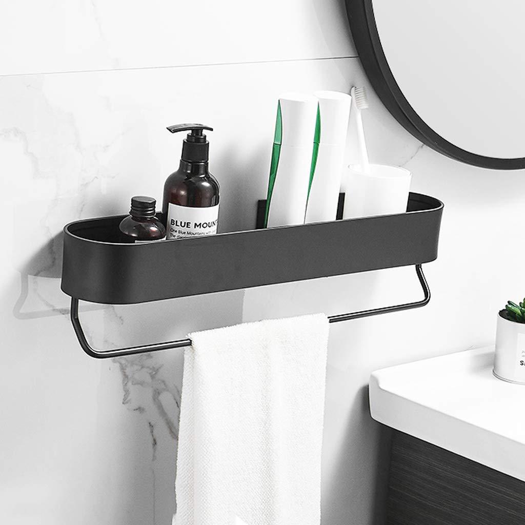 QVIVI Mensole da Bagno Nere Senza Perforazione per Cucina Dormitorio Mensola Doccia A Parete Mensola Portaoggetti per Shampoo con Portasciugamani