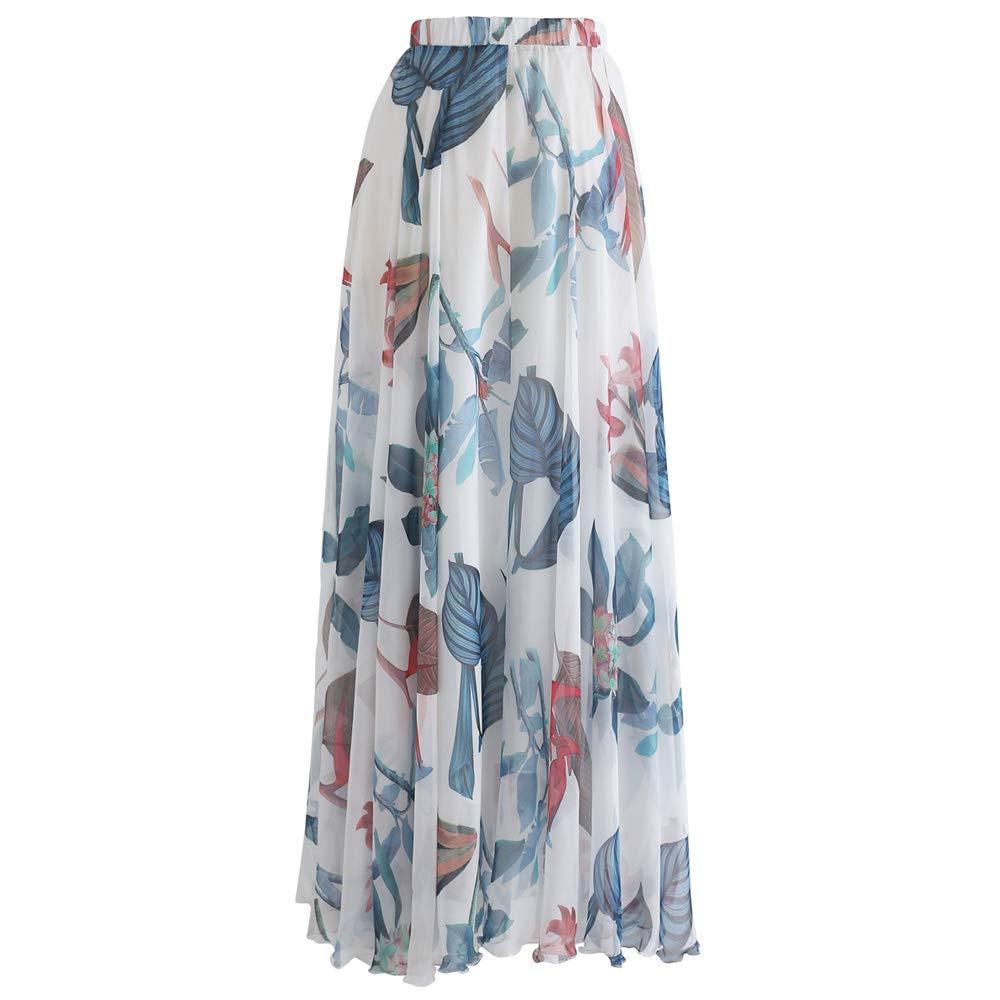 a8998c9776fc Amazon.com: Chicwish Women's Watercolor  Yellow/Violet/Green/Pink/Blue/Orange/Navy Flower Maxi Floral Chiffon Slip  Skirt: Clothing