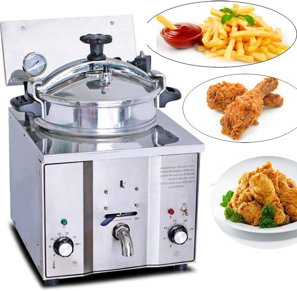 Electric Pressure Fryer 16L Countertop Pressure Fryer with Timer & Temperature Control 2400W Stainless Frying Machine for Chicken Fish