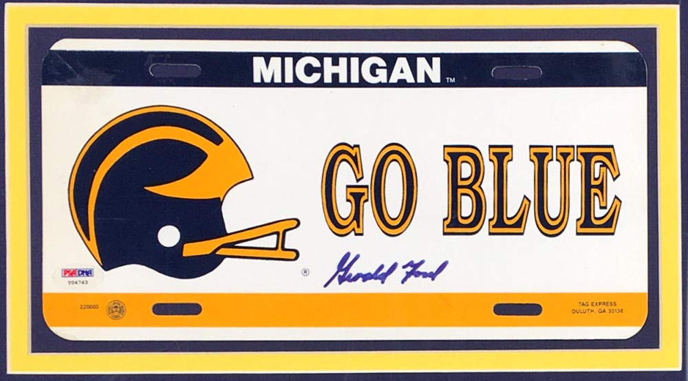 Gerald Ford Signed University of Michigan License Plate, PSA