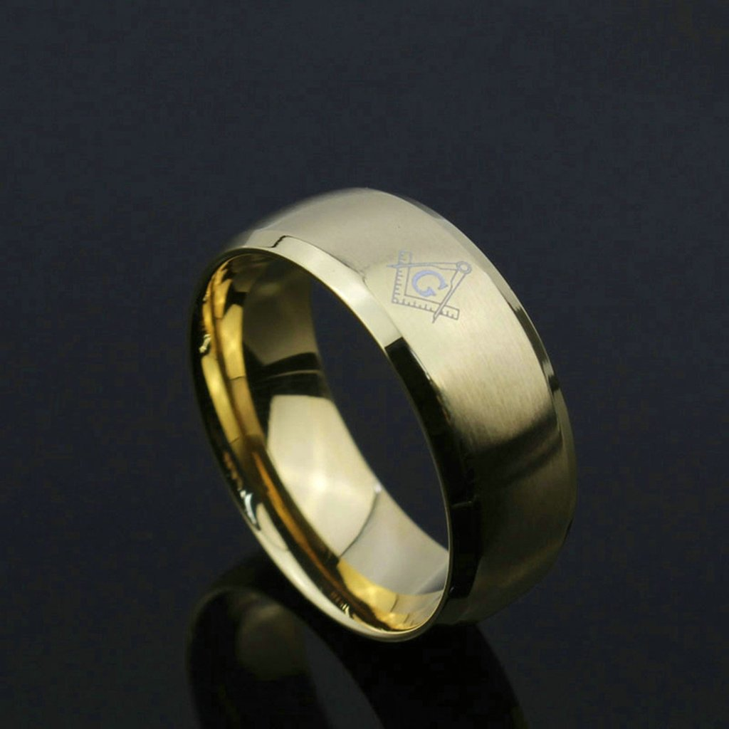 Aooaz Free Engraving Ring Stainless Steel Ring Gold Plated Masonic Rings Beveled Edge