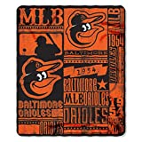 MLB Baltimore Orioles Strength 50-inch by 60-inch Printed Fleece Throw, Orange