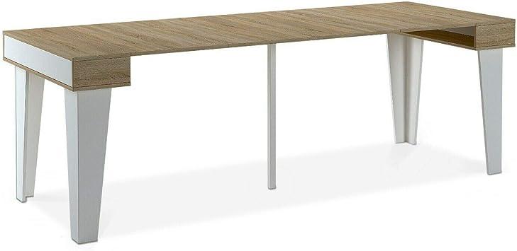 Home Innovation Table Console Extensible Rectangulaire Avec Rallonges Nordic Kl Jusqu A 237 Cm Style Scandinave Pour Salle A Manger Et Sejour Blanc Mat Chene Brosse Jusqu A 10 Personnes Amazon Fr Cuisine