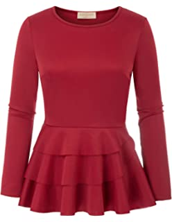 6513118684a7fd Kate Kasin Women s Side Ruffle Long Sleeve Cowl Neck Peplum Tops Shirt