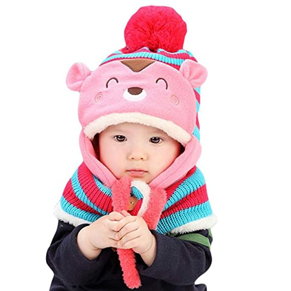 a79a4dc08a6 Buy Generic Blue   Cute Winter Hats for Girls Baby Kids Hairball Girls Boys  Knitted Warm Wool Coif Hood Scarf Caps Hats Online at Low Prices in India  ...
