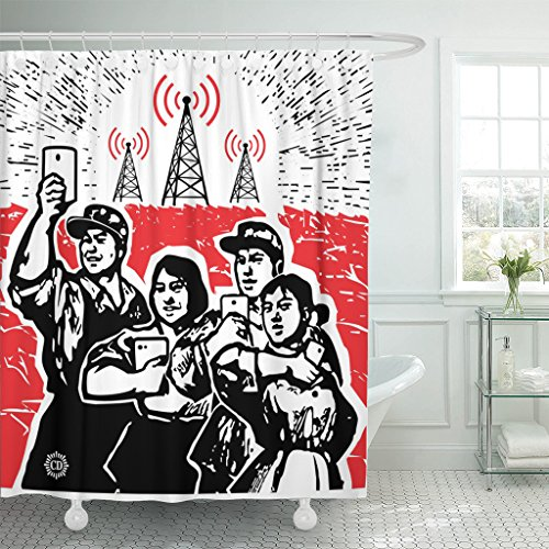 ArtSocket TOMPOP Shower Curtain Red Propaganda Digital Culture Parody Cultural Revolution in China Waterproof Polyester Fabric 60 x 72 Inches Set with Hooks