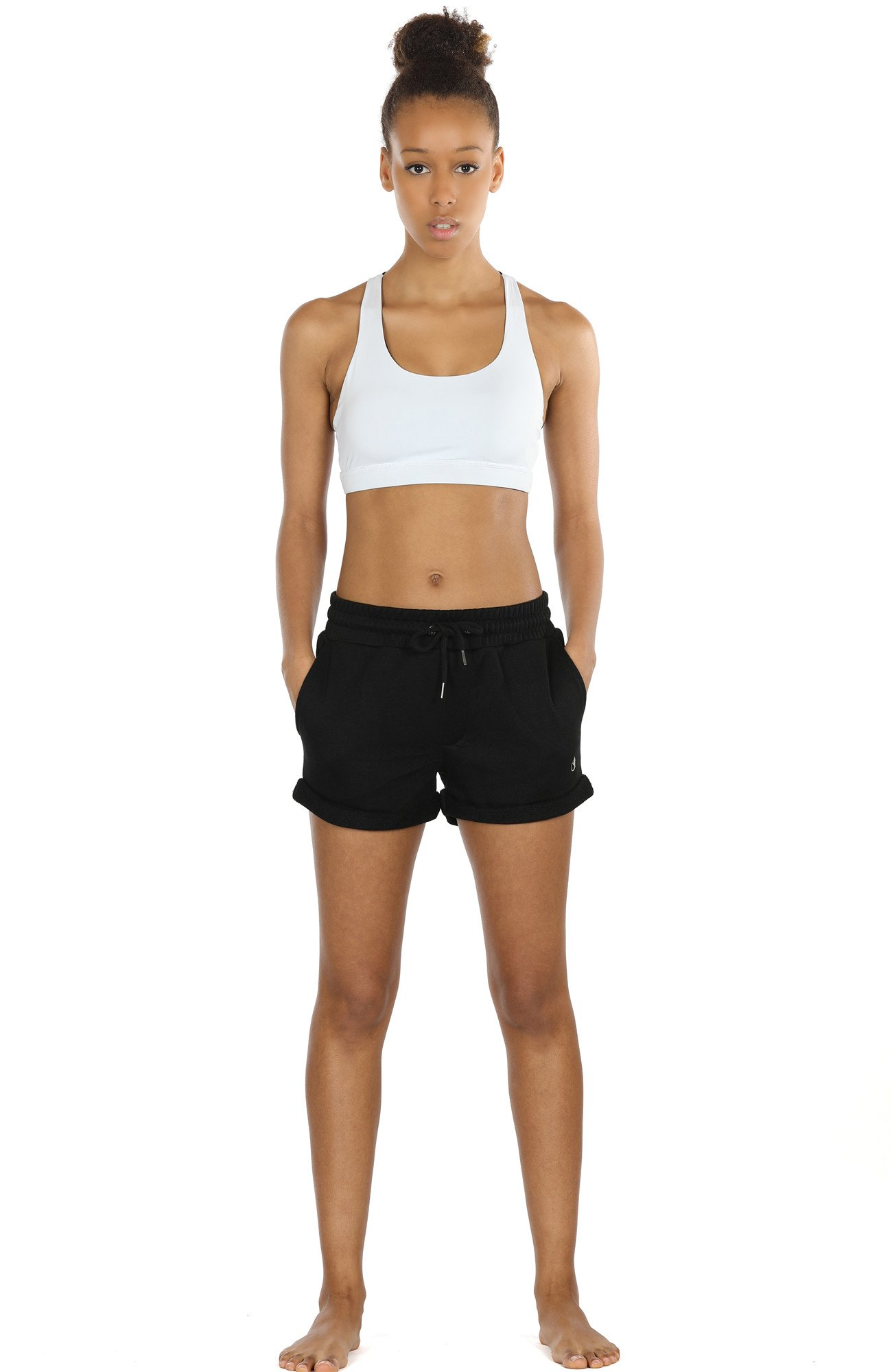 icyZone Activewear Athletic Shorts for Women Workout Running Lounge Cotton Sweat Shorts (Black, S)