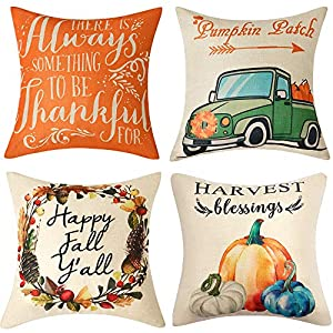 Anickal Set of 4 Thanksgiving Pillow Covers Harvest Blessings Pumpkin Patch Fall Autumn Farmhouse Decorative Throw Pillow Covers 18×18 Inch for Sofa Couch Decor