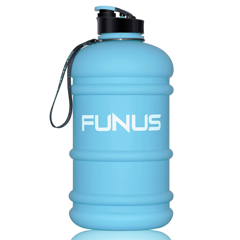 FUNUS Big Water Bottle 1.3L-2.2L Large Water Bottle BPA Free Leak Proof Reusable Odorless Big Capacity Water Jug for Men Women Fitness Gym Outdoor Climbing Gym Water Bottle (1.3L Light Blue) by FUNUS