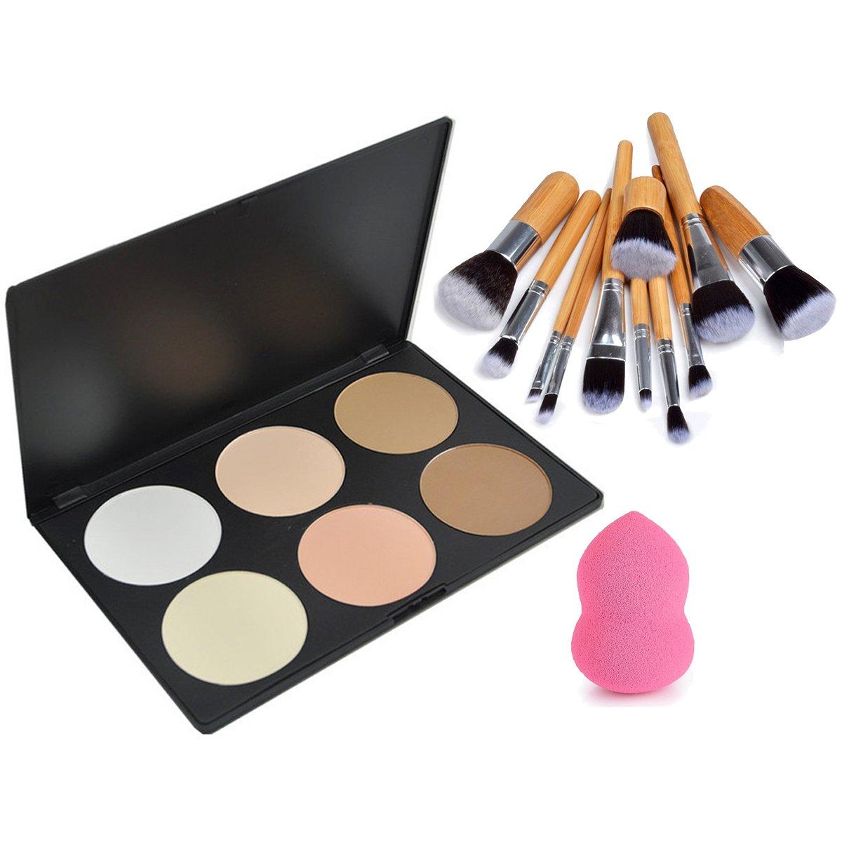 Vonisa 6colore Contour cipria kit-base fondotinta correttore palette-sleek pigmento Pro correttore palette-cosmetics contouring highlighting Bronzing con 11PCS make up pennelli set-makeup spugna