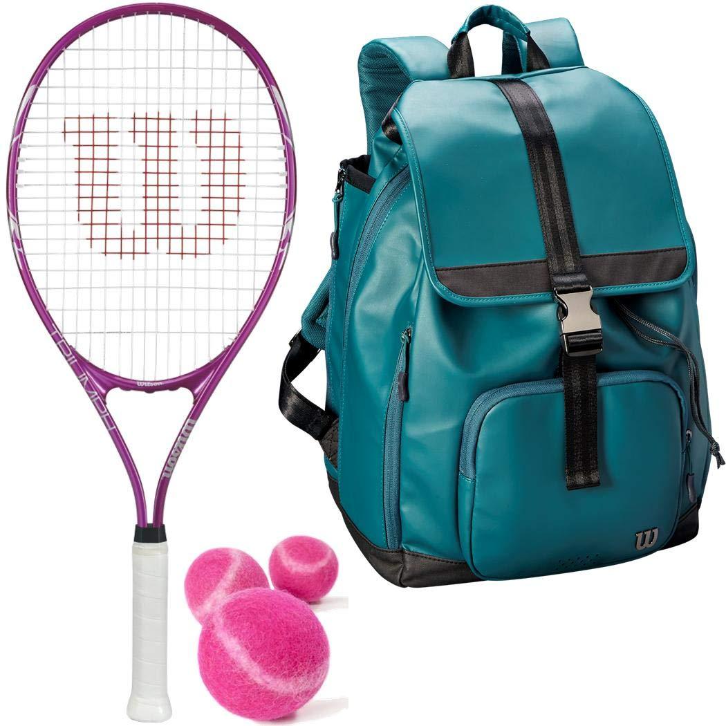 Wilson トライアンフ プレストラング オーバーサイズ ピンク/ホワイト テニスラケット/ラケット ウィルソンテニスバッグ付き ピンクテニスボール缶 (女性/女の子/ジュニアに最適) Grip Size 4 1/4 Foldover Backpack - Green B07J21WPLP