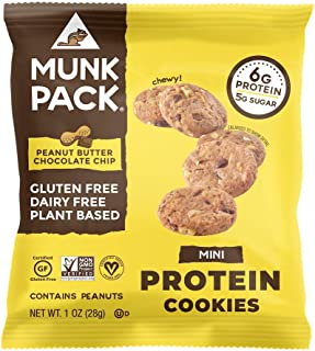 product image for Munk Pack Mini Protein Cookies, Peanut Butter Chocolate Chip, 8 Pack, 6 Grams of Protein, Cookie Snack Pack, Vegan, Gluten Free, Dairy Free, Soy Free, Chewy
