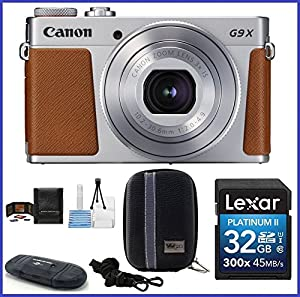 Canon PowerShot G9 X Mark II Digital Camera (Silver) Bundle includes: 32GB SDHC Class 10 Memory Card, Card Reader, Camera Case & more...