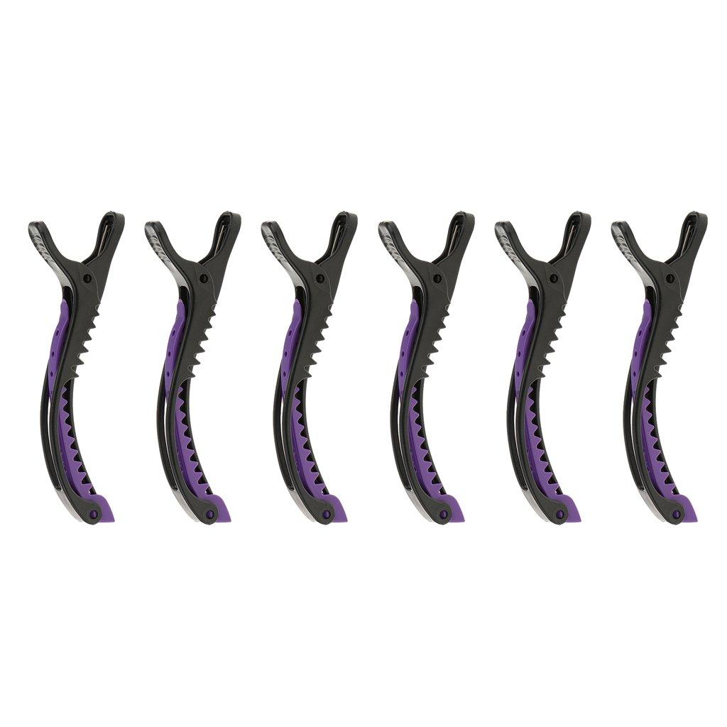 Sharplace Kunststoff Abteilklammern Friseur Styling Hair Clips (6 Stück Packung) - Schwarz-Lila