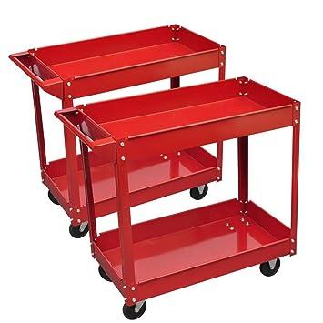 2 x Carro de herramientas de taller 220 lb 2 estantes ...