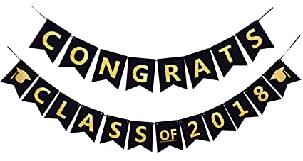 amazon com congrats class of 2018 party banner black and gold