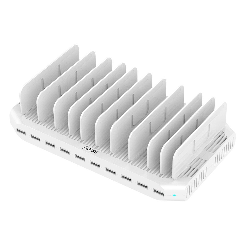iPad Charging Station 96W 10-Port Alxum USB Charging Station Multiple Device USB Charger with Smart IC Tech, Organizer Stand for iPhone X,Xs MAX,8,7,6, Samsung Google Nexus LG, Tablets, White by Alxum