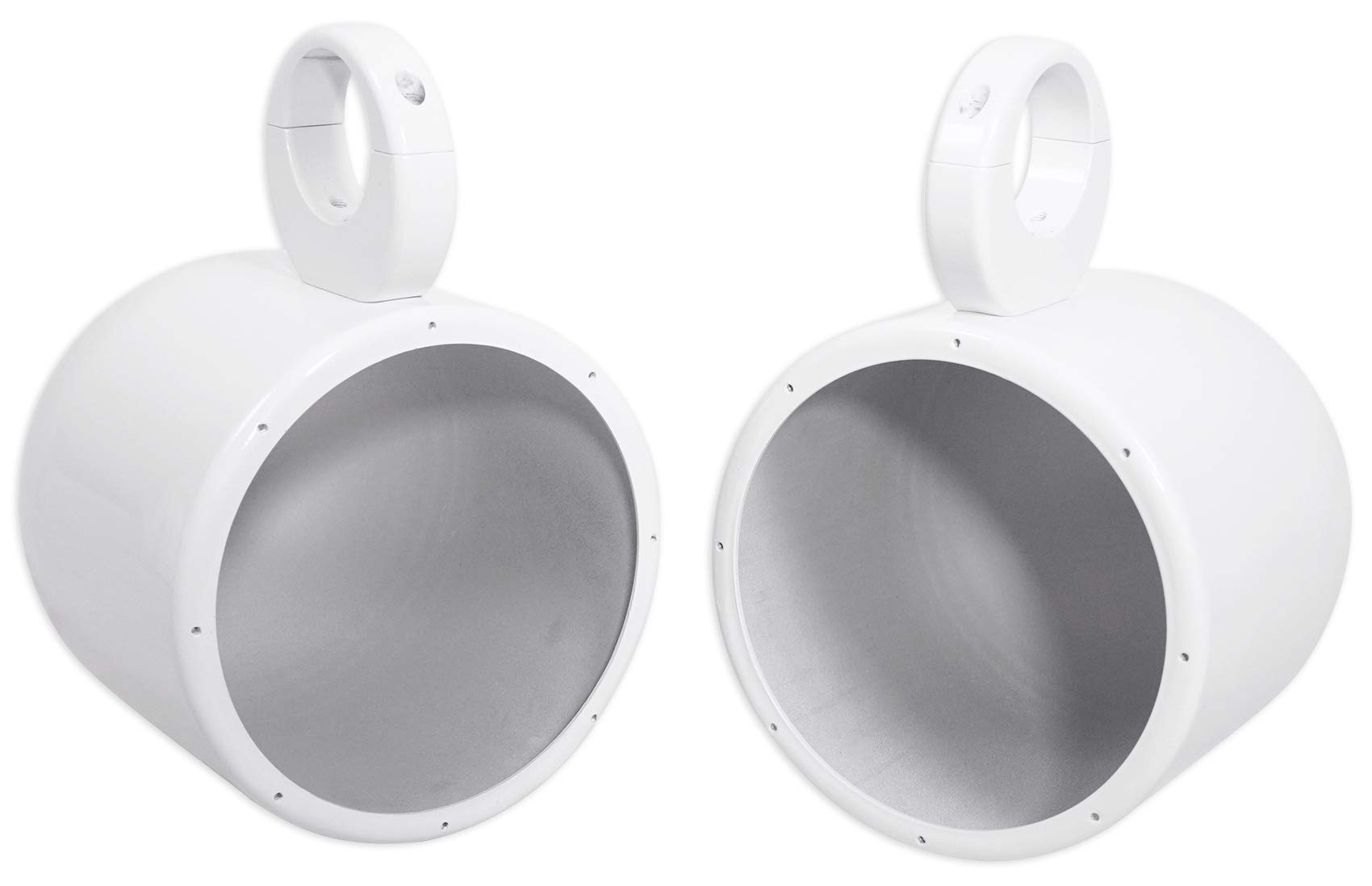 Pair Metal Wakeboard Speaker Pods 4 Kicker, Pyle, Fusion, MTX - White