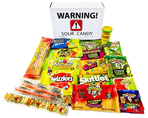 - Sour Candy Variety Package Assortment with Toxic Waste, Sour Patch Kids, Warheads Extreme Hard Candy, Belts, Smashups, Straws, Pop Rocks Dip, Skittles, Watermelon, Warhead Twists ~ Jr