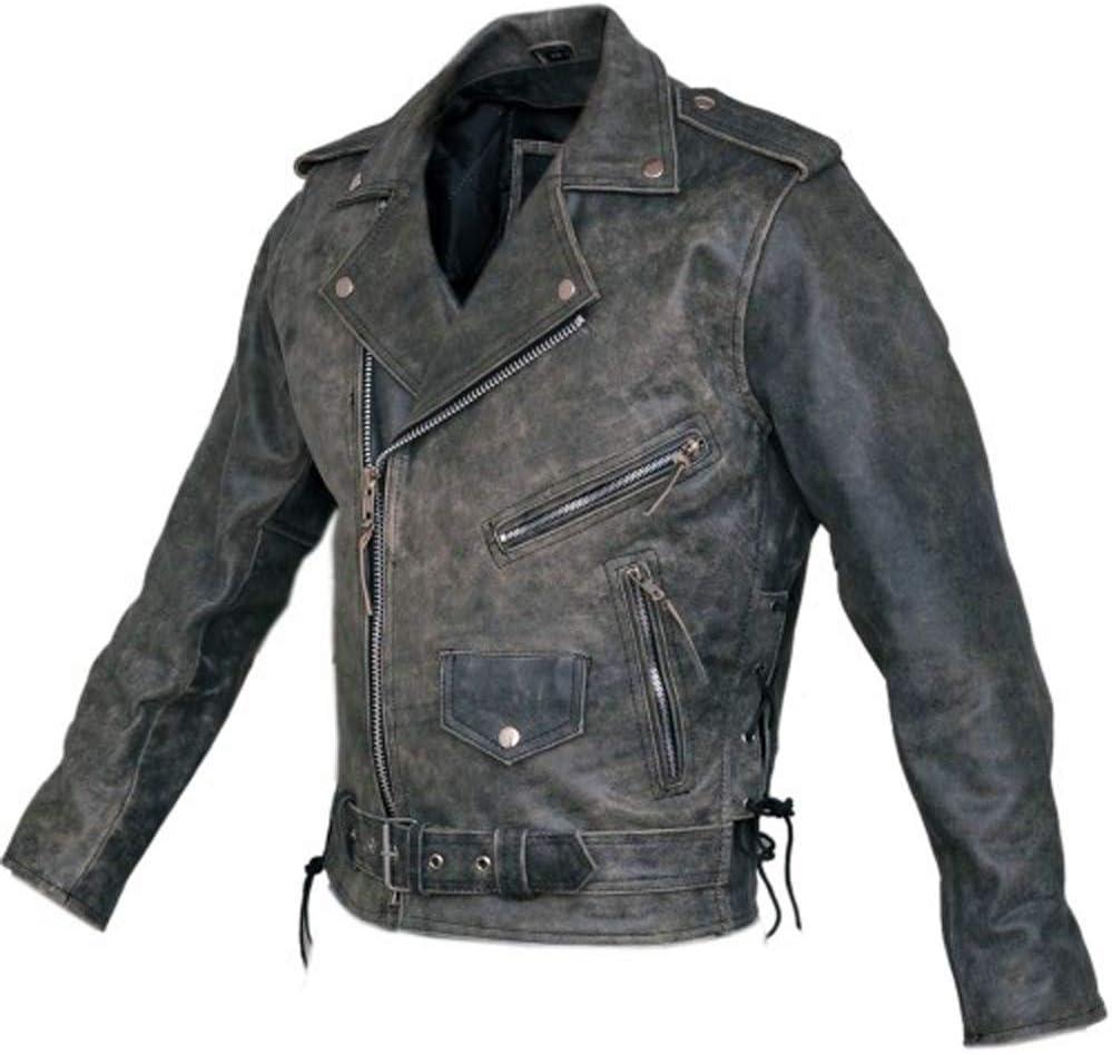 Bikers Gear Australia Classic Vintage estilo Brando Chamarra Harley Cruiser de cuero estilo clásico con armadura CE 1621-1
