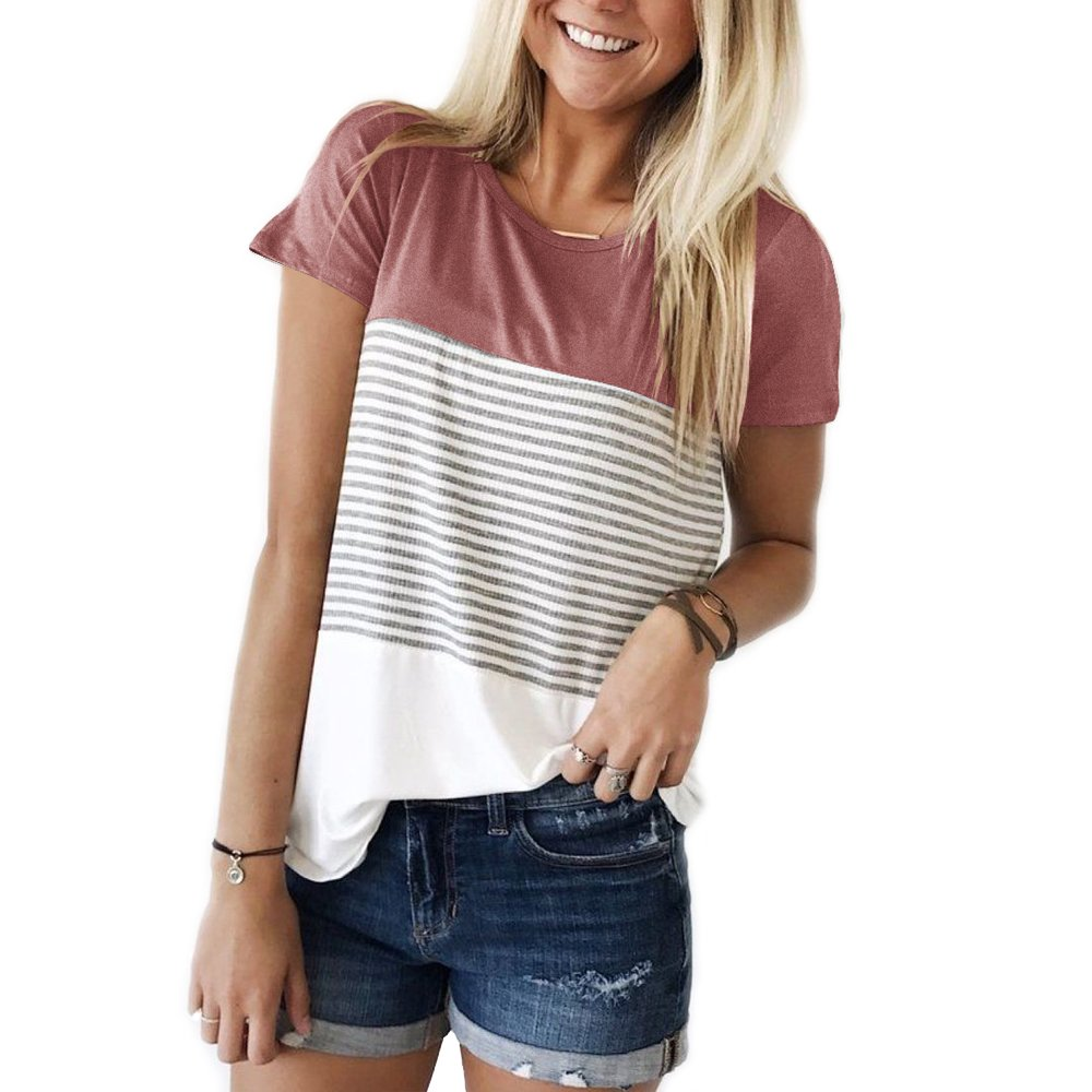 YunJey short sleeve round neck triple color block stripe T-shirt casual blouse,Red,Medium