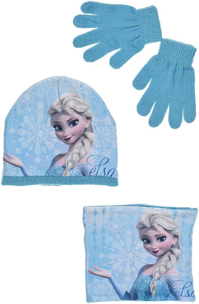 Sun City Fashion Group Frozen 3er-Set M/ütze-Handschuhe-Rundkragen Schal