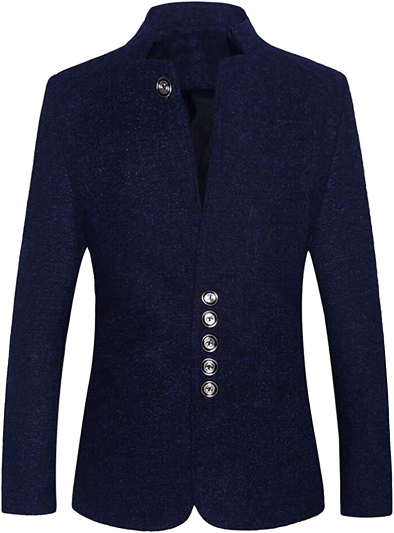 ARTFFEL Mens Chinese Tunic Suit Single Breasted Mandarin Collar Casual Regular Fit Blazer Jacket Coat