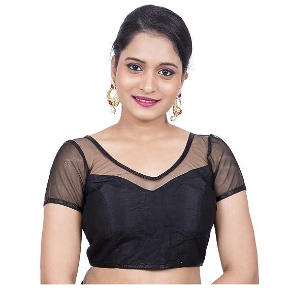 191a4bdbfbad0 Rinkoo Womens Black Dupion Silk Full Net Padded Princess Cut Net Short  Sleeves Designer Readymade Saree