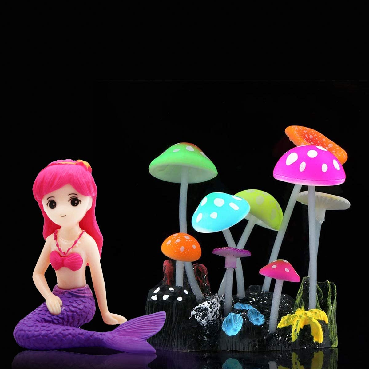 SOLOKA Glowing Effect Artificial Mushroom Aquarium with Mermaid,Plant Decor Ornament Decoration for Fish Tank Landscape,Kids Toys